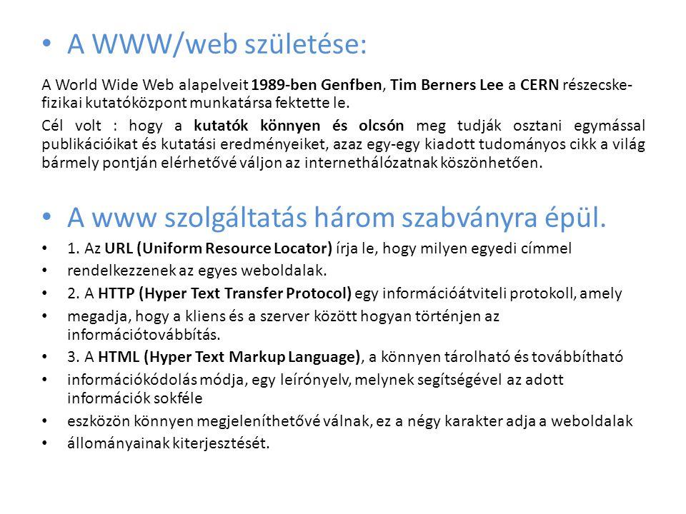 • A kliens-szerver modell Mi a felhasználók a számítógépünk böngészőjébe (kliens) beírjuk a megnézendő weboldal URL címét, melynek hatására a számítógépünk egy kérést küld annak a webszervernek (szerver), amelyről a szükséges weboldal információit le szeretnénk kérni; majd a szerveren futtatott szoftver a kérésünkre elküldi a megfelelő weboldalt, amelyet megjelenít a gépünkön lévő böngészőprogram (azaz a kliens).