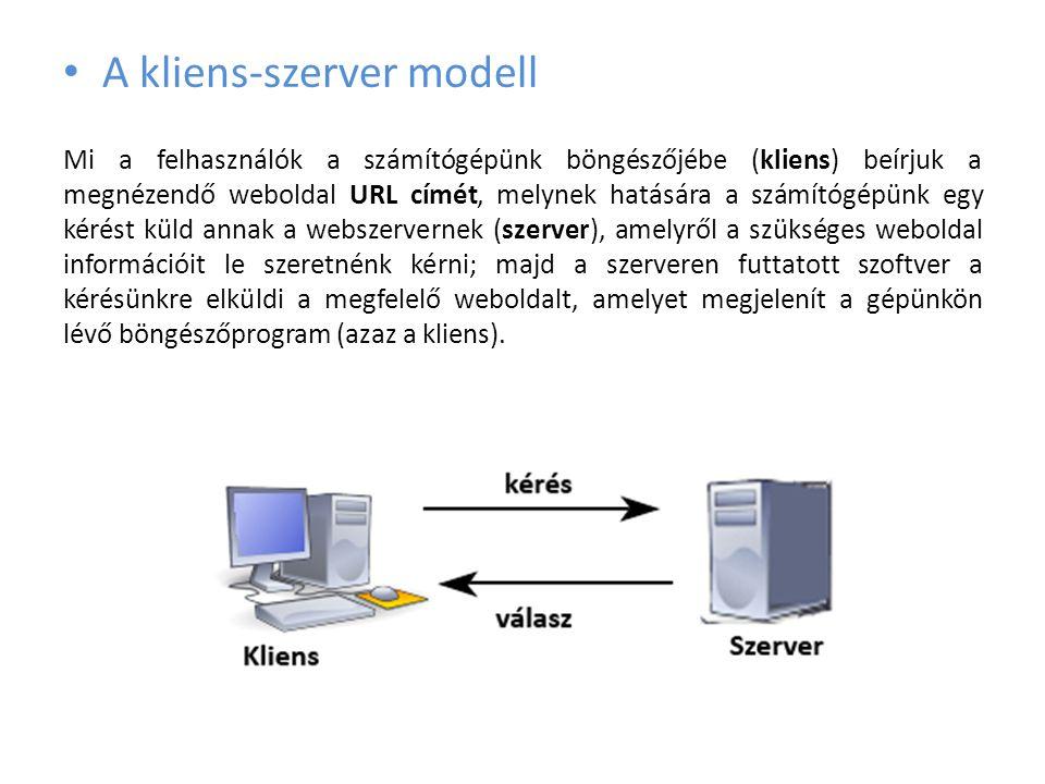 • A kliens-szerver modell Mi a felhasználók a számítógépünk böngészőjébe (kliens) beírjuk a megnézendő weboldal URL címét, melynek hatására a számítóg