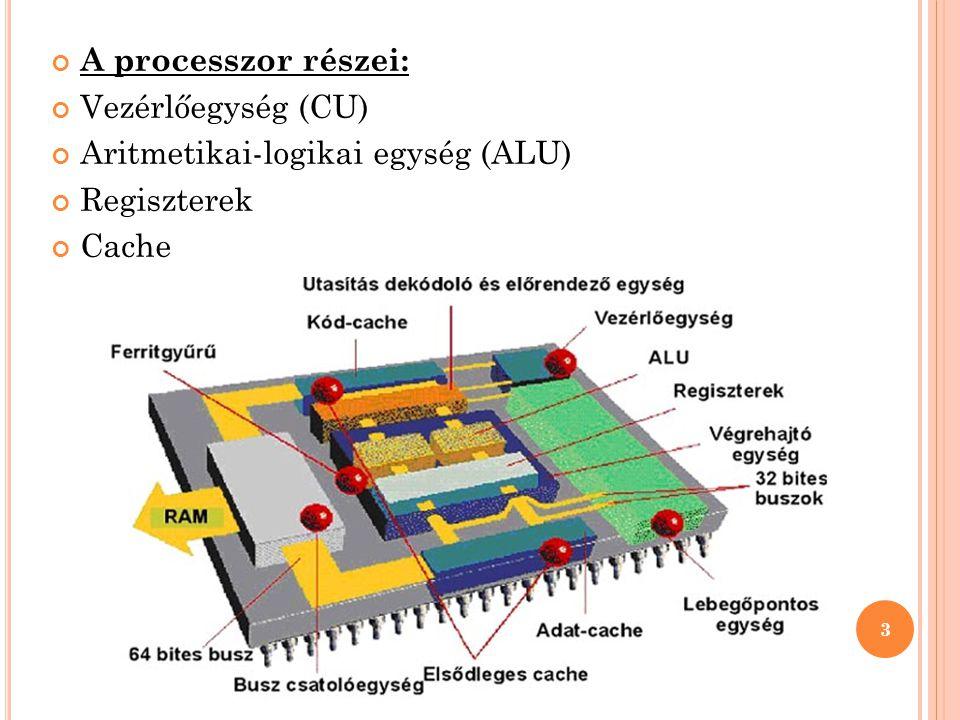 A processzor részei: Vezérlőegység (CU) Aritmetikai-logikai egység (ALU) Regiszterek Cache 3