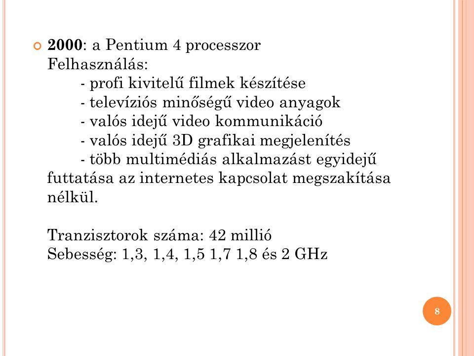 2000 : a Pentium 4 processzor Felhasználás: - profi kivitelű filmek készítése - televíziós minőségű video anyagok - valós idejű video kommunikáció - v