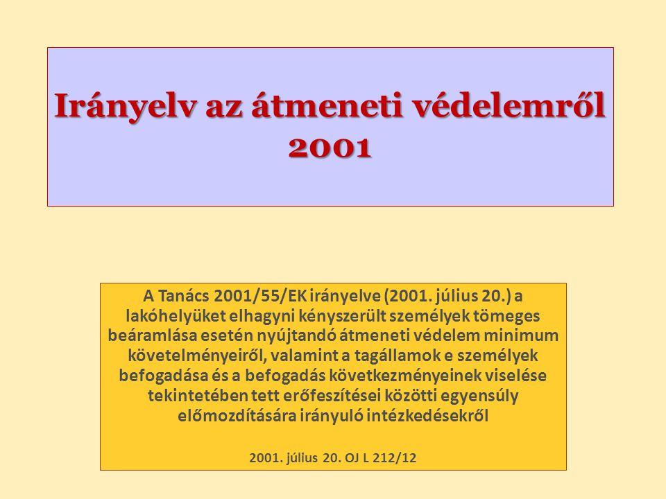 Irányelv az átmeneti védelemről 2001 A Tanács 2001/55/EK irányelve (2001.