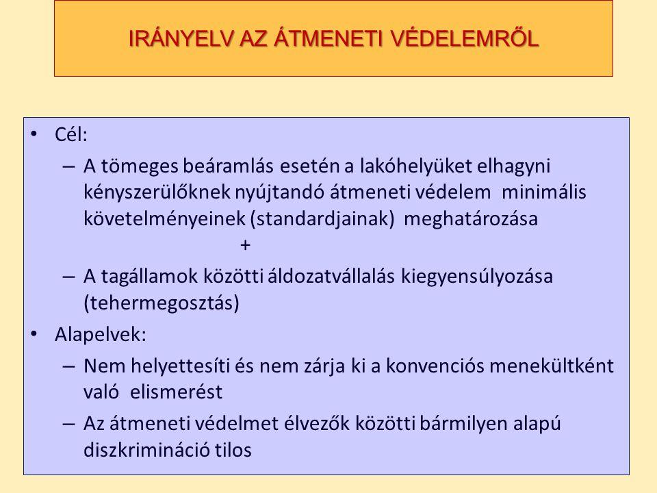 IRÁNYELV AZ ÁTMENETI VÉDELEMRŐL • Cél: – A tömeges beáramlás esetén a lakóhelyüket elhagyni kényszerülőknek nyújtandó átmeneti védelem minimális követelményeinek (standardjainak) meghatározása + – A tagállamok közötti áldozatvállalás kiegyensúlyozása (tehermegosztás) • Alapelvek: – Nem helyettesíti és nem zárja ki a konvenciós menekültként való elismerést – Az átmeneti védelmet élvezők közötti bármilyen alapú diszkrimináció tilos