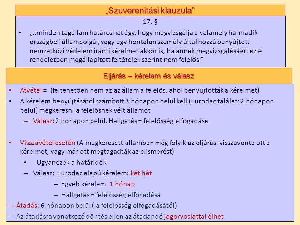 """17. § • """"..minden tagállam határozhat úgy, hogy megvizsgálja a valamely harmadik országbeli állampolgár, vagy egy hontalan személy által hozzá benyújt"""