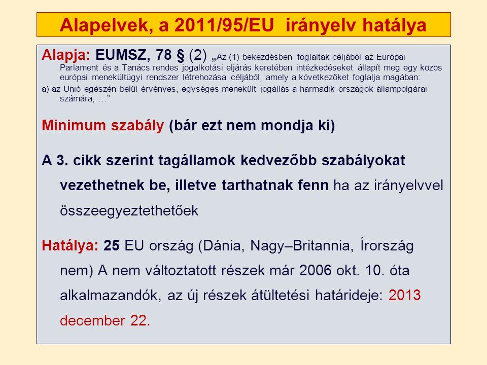 """Alapelvek, a 2011/95/EU irányelv hatálya Alapja: EUMSZ, 78 § (2) """" Az (1) bekezdésben foglaltak céljából az Európai Parlament és a Tanács rendes jogalkotási eljárás keretében intézkedéseket állapít meg egy közös európai menekültügyi rendszer létrehozása céljából, amely a következőket foglalja magában: a) az Unió egészén belül érvényes, egységes menekült jogállás a harmadik országok állampolgárai számára, … Minimum szabály (bár ezt nem mondja ki) A 3."""