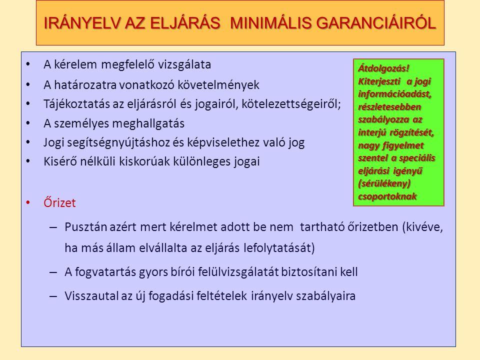 IRÁNYELV AZ ELJÁRÁS MINIMÁLIS GARANCIÁIRÓL • A kérelem megfelelő vizsgálata • A határozatra vonatkozó követelmények • Tájékoztatás az eljárásról és jogairól, kötelezettségeiről; • A személyes meghallgatás • Jogi segítségnyújtáshoz és képviselethez való jog • Kisérő nélküli kiskorúak különleges jogai • Őrizet – Pusztán azért mert kérelmet adott be nem tartható őrizetben (kivéve, ha más állam elvállalta az eljárás lefolytatását) – A fogvatartás gyors bírói felülvizsgálatát biztosítani kell – Visszautal az új fogadási feltételek irányelv szabályaira Átdolgozás.