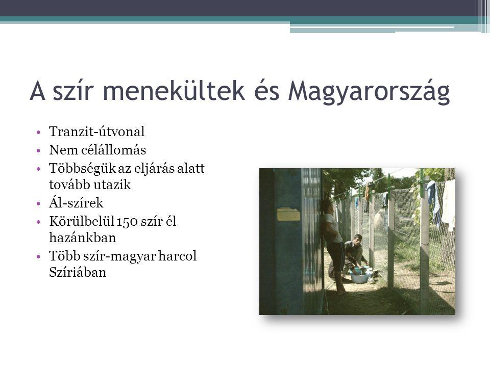 A szír menekültek és Magyarország •Tranzit-útvonal •Nem célállomás •Többségük az eljárás alatt tovább utazik •Ál-szírek •Körülbelül 150 szír él hazánk