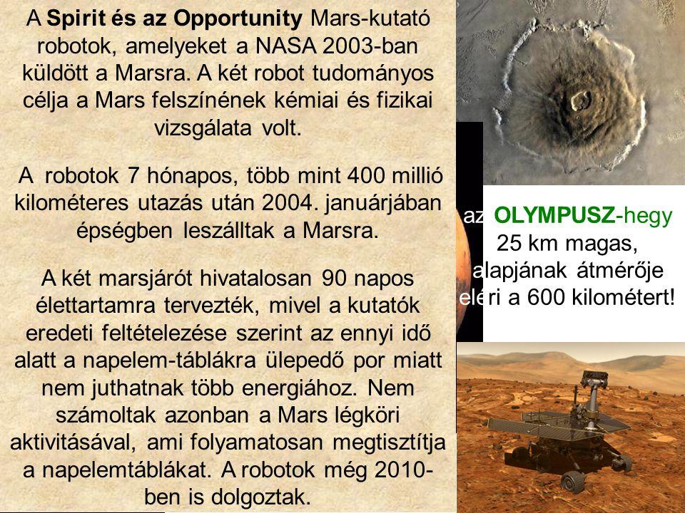 A MARS - KUTATÁS PHOBOSZ DEIMOSZ holdjai az OLYMPUSZ-hegy 25 km magas, alapjának átmérője eléri a 600 kilométert! a SPIRIT kutatóegység (fantáziakép)