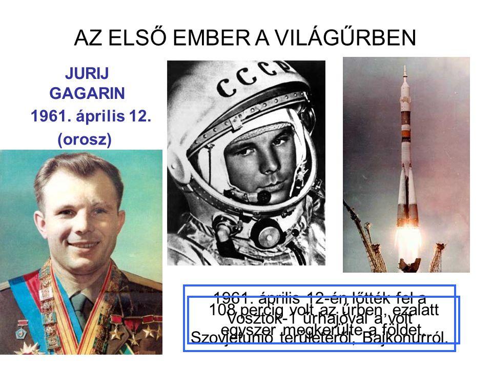 AZ ELSŐ EMBER A VILÁGŰRBEN 1961. április 12-én lőtték fel a Vosztok-1 űrhajóval a volt Szovjetunió területéről, Bajkonurról. JURIJ GAGARIN 108 percig