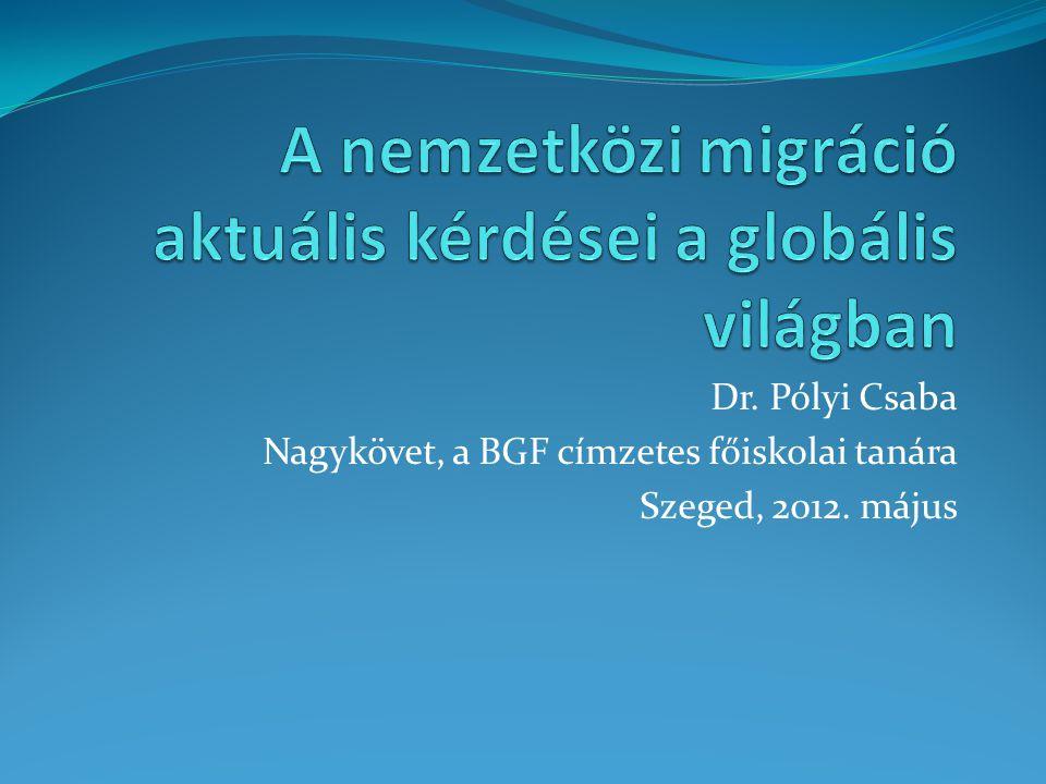 A nemzetközi migráció néhány kihívása  a Nemzetközi Migrációs Szervezet (IOM) szerint a nemzetközi migránsok száma 2050-re meghaladhatja a 400 milliót, a világ jelenlegi népességének 7 százalékát  ez a szám 68 százalékos növekedést jelentene a mostani állapothoz képest és jelentős átalakulás lesz a népességvándorlás mértékében, összetettségében és kiterjedtségében  főleg a globális munkaerőpiac változásai idézik majd elő, de nőni fog a klímamenekültek száma is  a globális demográfiai változások következtében elkerülhetetlen és feltartóztathatatlan lesz a növekedés  ilyen népességbeli változás például, hogy a fejlődő országokban a munkaerőpiaci kínálat jócskán meghaladja majd a keresletet, amely a gazdagabb országok felé nyomja a kihasználatlan munkaerőt  az IOM számításai szerint 2040-re a fejlődő országokban 3,6 milliárdra nő az aktív népesség száma, míg az iparosodott államokban ez 600 millió körül fog tetőzni