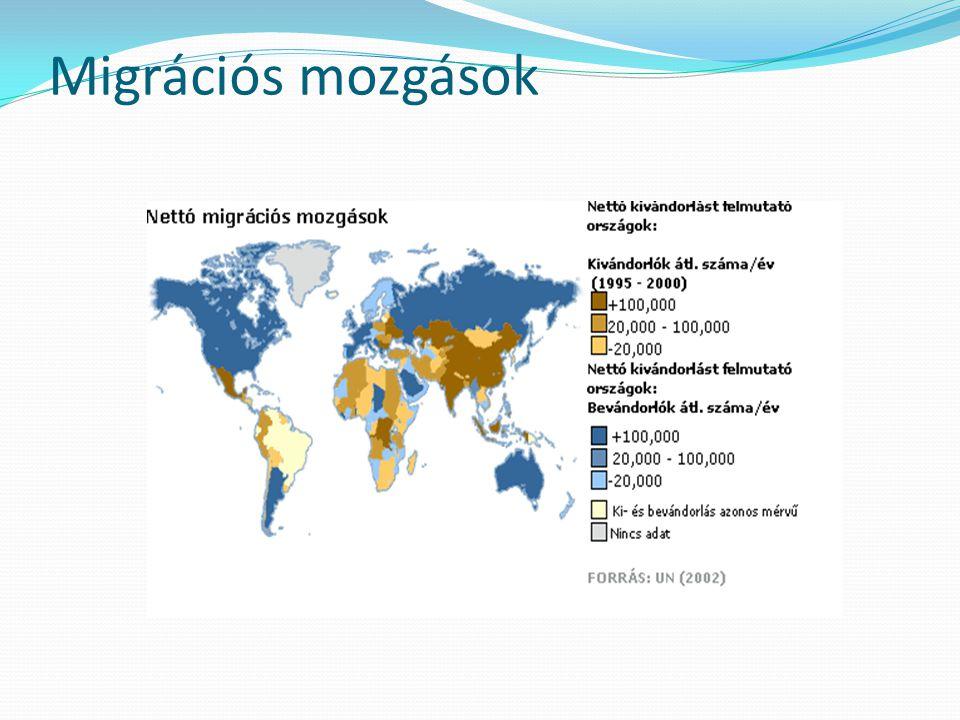 Nyugat-Európa és Közép-Európa  Nyugat-Európa és Közép-Európa az régió bevándoroltjainak 2/3-t koncentrálja, mintegy 51 millió főt  a legjelentősebb befogadó államok Németország (10,8 millió), Franciaország (6,7 millió), Anglia (6,5 millió), Spanyolország (6,4 millió) és Olaszország (4,5 millió)  a bevándoroltaknak a teljes lakossághoz viszonyított aránya kiugróan magas értékeket csak Luxemburgban (35%), Svájcban (23%), Írországban (20%) és Cipruson (18%) mutat