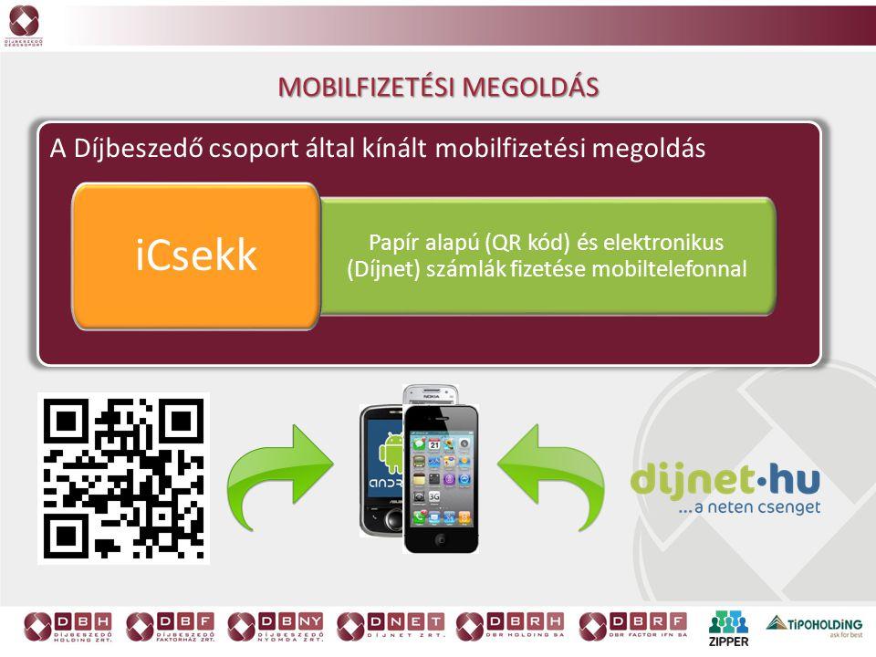 A Díjbeszedő csoport által kínált mobilfizetési megoldás Papír alapú (QR kód) és elektronikus (Díjnet) számlák fizetése mobiltelefonnal iCsekk MOBILFI