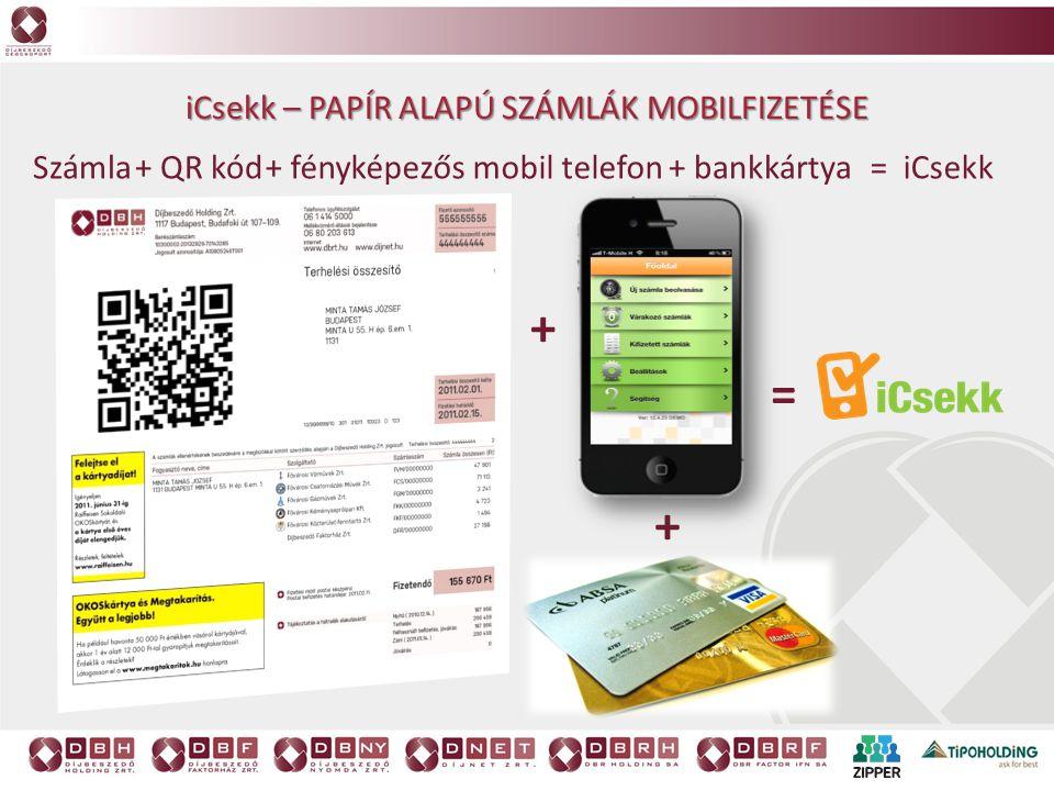 iCsekk – PAPÍR ALAPÚ SZÁMLÁK MOBILFIZETÉSE + QR kódSzámla+ fényképezős mobil telefon+ bankkártya= iCsekk + + =
