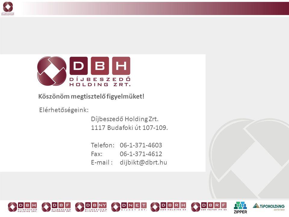 Köszönöm megtisztelő figyelmüket! Díjbeszedő Holding Zrt. 1117 Budafoki út 107-109. Telefon: 06-1-371-4603 Fax: 06-1-371-4612 E-mail :dijbikt@dbrt.hu