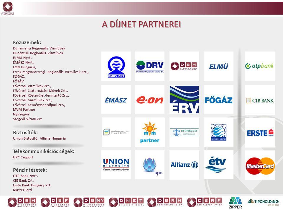 Pénzintézetek: OTP Bank Nyrt. CIB Bank Zrt. Erste Bank Hungary Zrt. MasterCard Telekommunikációs cégek: UPC Csoport Közüzemek: Dunamenti Regionális Ví
