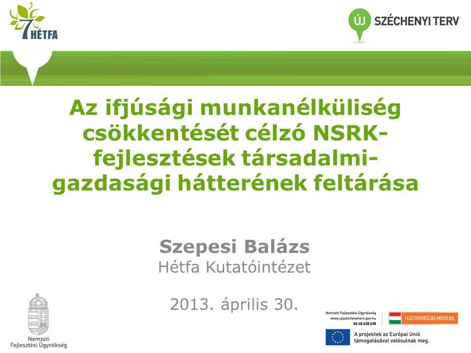 Az ifjúsági munkanélküliség csökkentését célzó NSRK- fejlesztések társadalmi- gazdasági hátterének feltárása Szepesi Balázs Hétfa Kutatóintézet 2013.