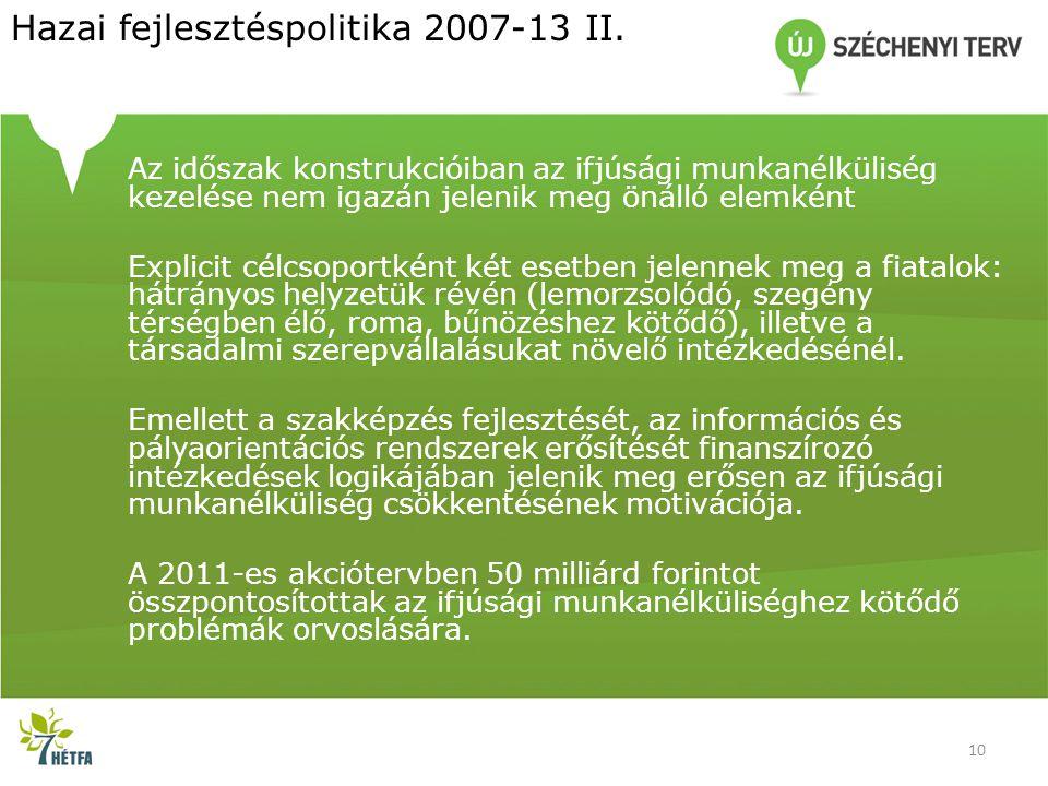Hazai fejlesztéspolitika 2007-13 II. Az időszak konstrukcióiban az ifjúsági munkanélküliség kezelése nem igazán jelenik meg önálló elemként Explicit c