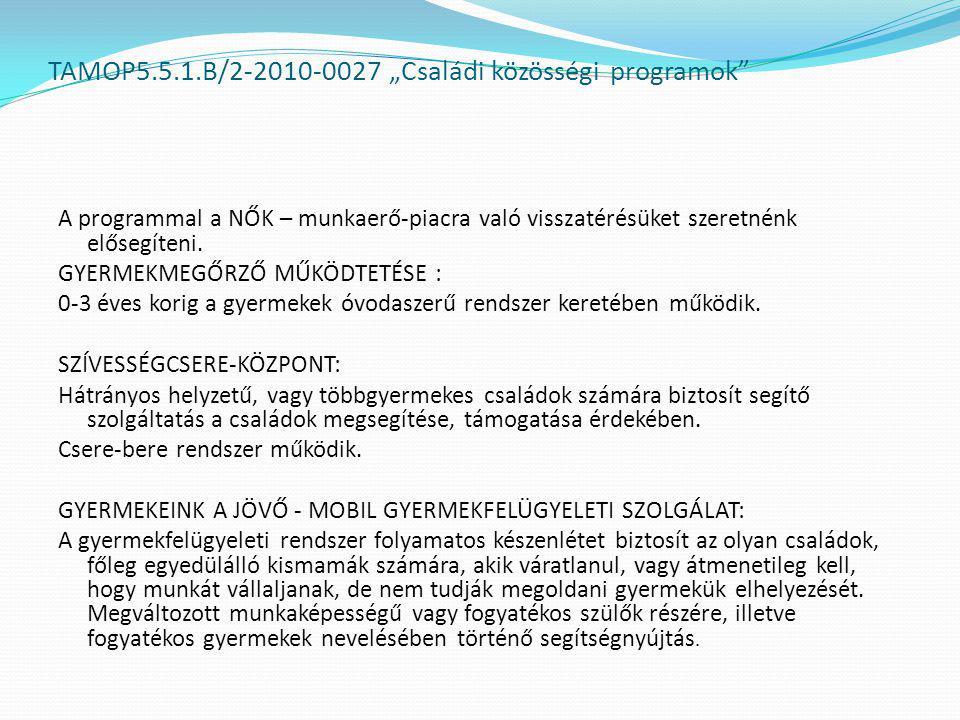 """TAMOP5.5.1.B/2-2010-0027 """"Családi közösségi programok A programmal a NŐK – munkaerő-piacra való visszatérésüket szeretnénk elősegíteni."""