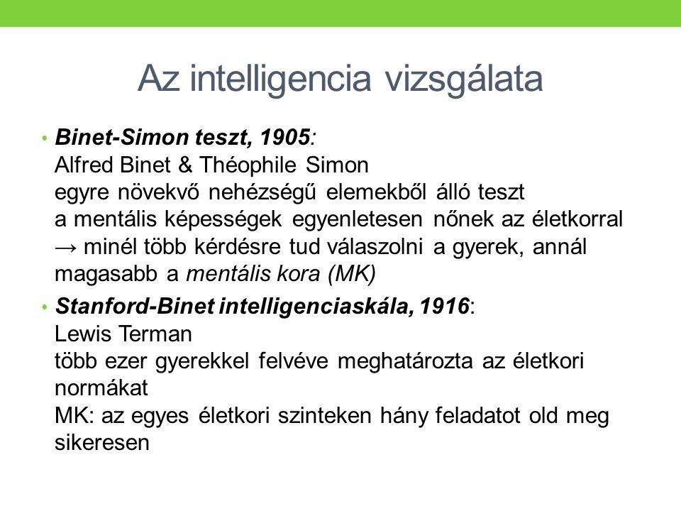 Az intelligencia vizsgálata • Binet-Simon teszt, 1905: Alfred Binet & Théophile Simon egyre növekvő nehézségű elemekből álló teszt a mentális képesség