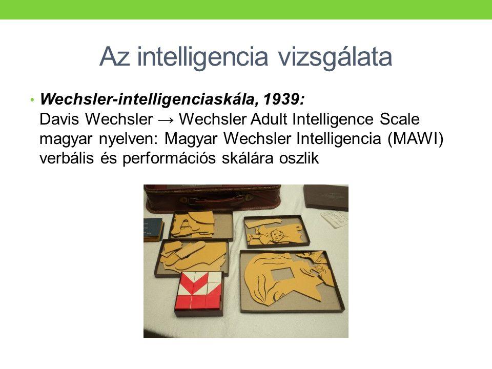 Az intelligencia vizsgálata • Wechsler-intelligenciaskála, 1939: Davis Wechsler → Wechsler Adult Intelligence Scale magyar nyelven: Magyar Wechsler In