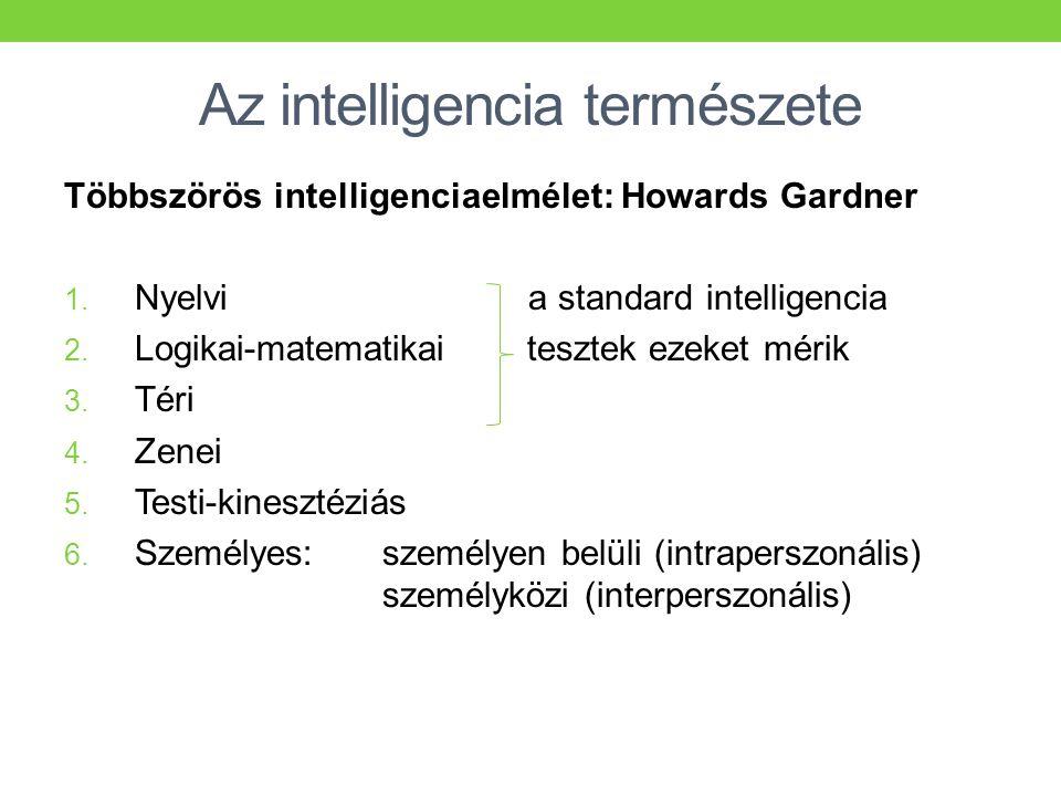 Az intelligencia természete Többszörös intelligenciaelmélet: Howards Gardner 1. Nyelvi a standard intelligencia 2. Logikai-matematikai tesztek ezeket