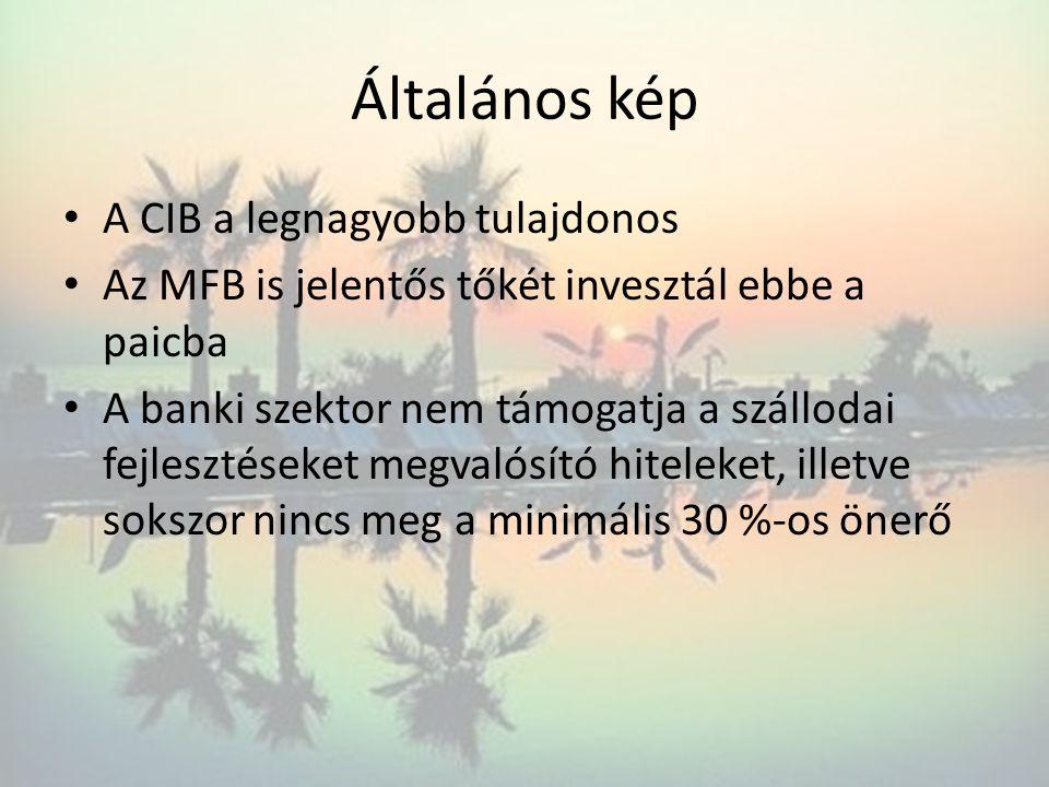 Általános kép • A CIB a legnagyobb tulajdonos • Az MFB is jelentős tőkét invesztál ebbe a paicba • A banki szektor nem támogatja a szállodai fejleszté