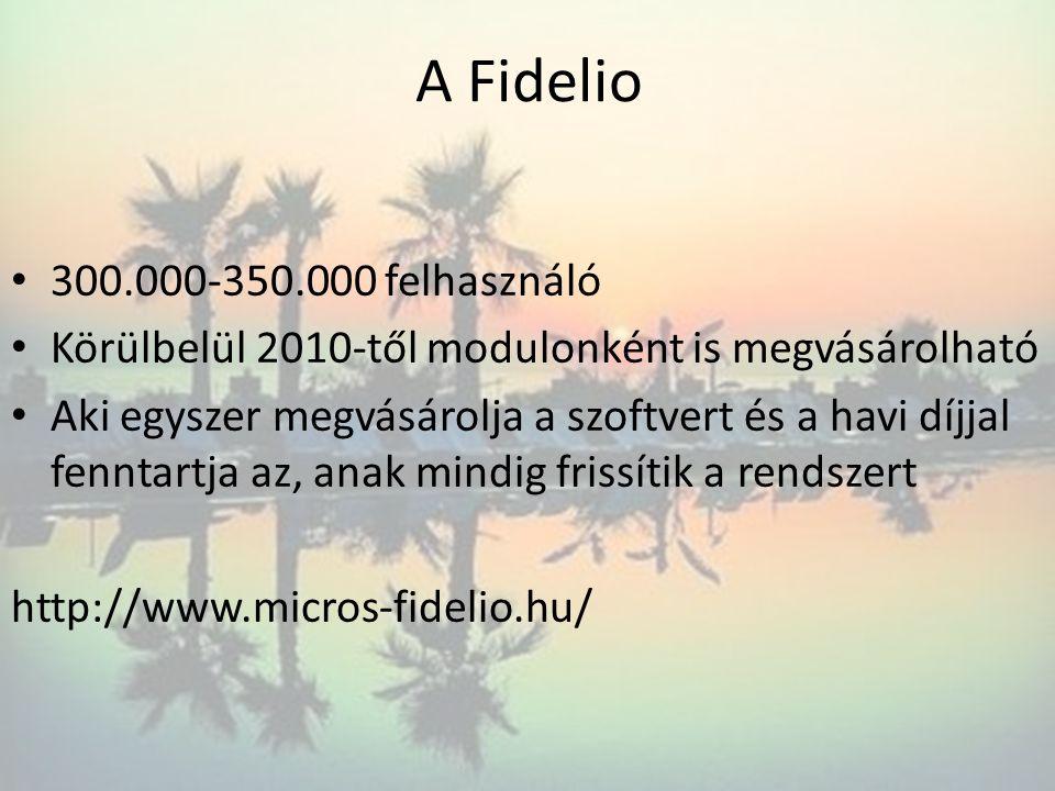 A Fidelio • 300.000-350.000 felhasználó • Körülbelül 2010-től modulonként is megvásárolható • Aki egyszer megvásárolja a szoftvert és a havi díjjal fe