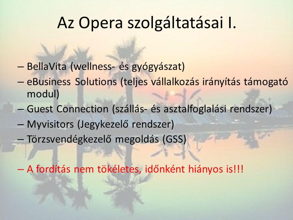 Az Opera szolgáltatásai I. – BellaVita (wellness- és gyógyászat) – eBusiness Solutions (teljes vállalkozás irányítás támogató modul) – Guest Connectio