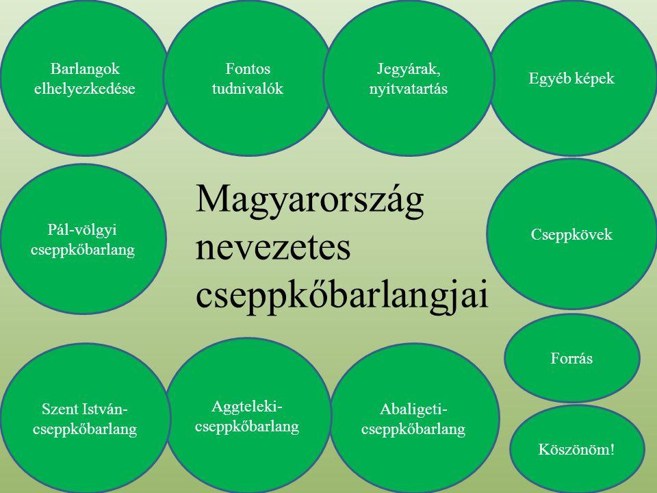 Magyarország nevezetes cseppkőbarlangjai Barlangok elhelyezkedése Abaligeti- cseppkőbarlang Aggteleki- cseppkőbarlang Pál-völgyi cseppkőbarlang Szent