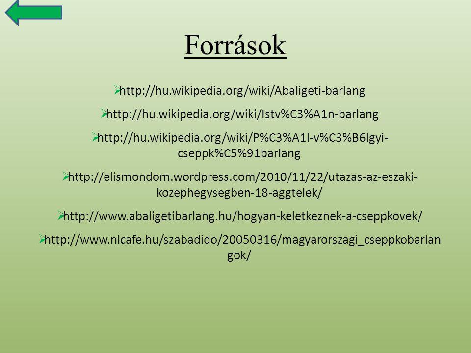 Források  http://hu.wikipedia.org/wiki/Abaligeti-barlang  http://hu.wikipedia.org/wiki/Istv%C3%A1n-barlang  http://hu.wikipedia.org/wiki/P%C3%A1l-v