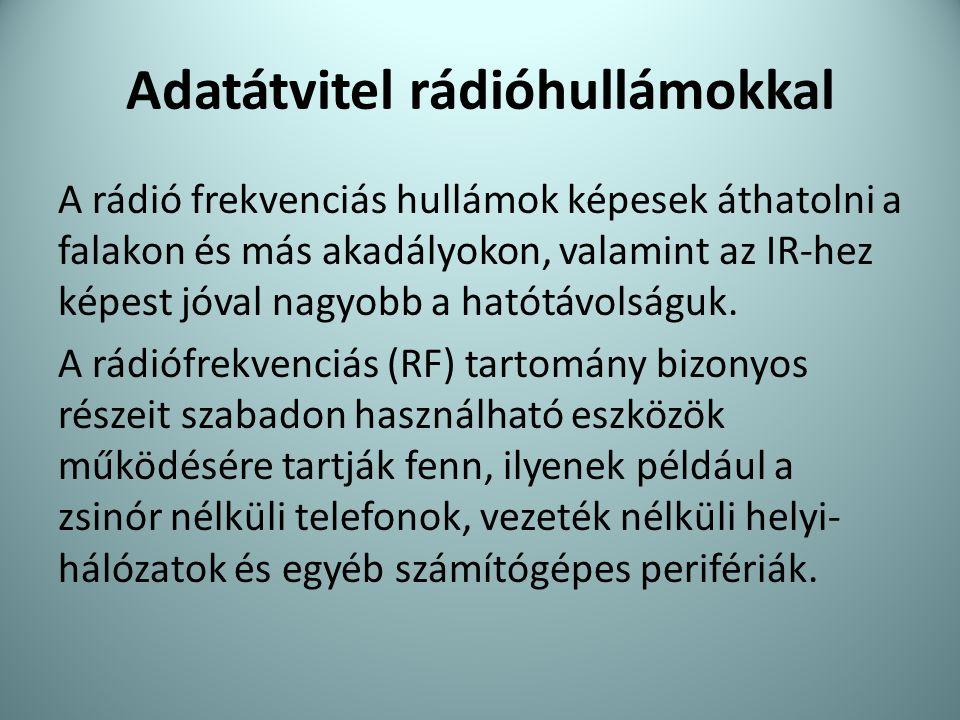 Adatátvitel rádióhullámokkal A rádió frekvenciás hullámok képesek áthatolni a falakon és más akadályokon, valamint az IR-hez képest jóval nagyobb a ha