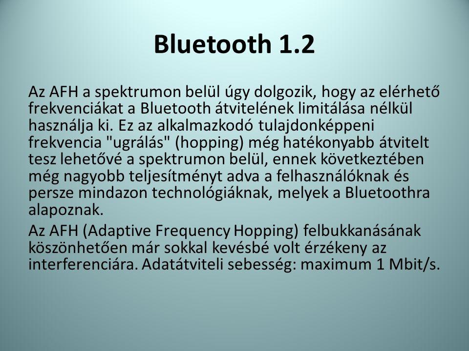 Bluetooth 1.2 Az AFH a spektrumon belül úgy dolgozik, hogy az elérhető frekvenciákat a Bluetooth átvitelének limitálása nélkül használja ki. Ez az alk