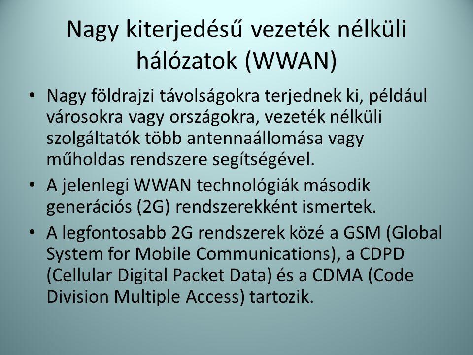 Nagy kiterjedésű vezeték nélküli hálózatok (WWAN) • Nagy földrajzi távolságokra terjednek ki, például városokra vagy országokra, vezeték nélküli szolg