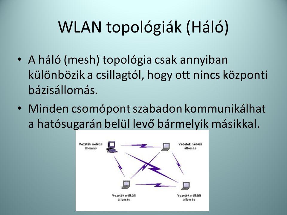 WLAN topológiák (Háló) • A háló (mesh) topológia csak annyiban különbözik a csillagtól, hogy ott nincs központi bázisállomás. • Minden csomópont szaba