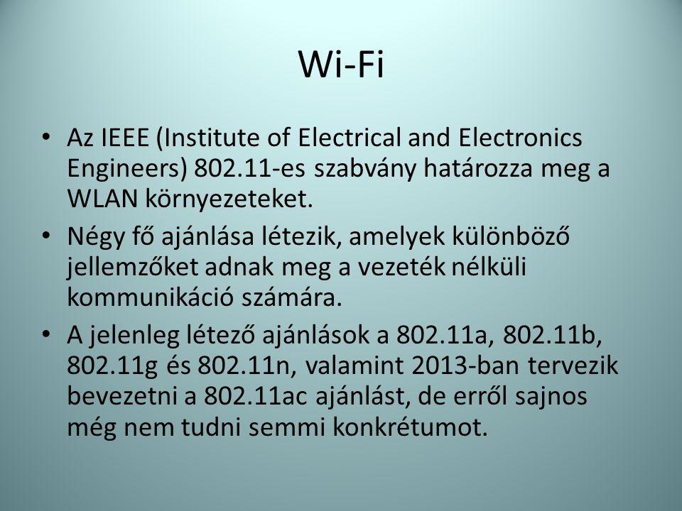 • Az IEEE (Institute of Electrical and Electronics Engineers) 802.11-es szabvány határozza meg a WLAN környezeteket. • Négy fő ajánlása létezik, amely