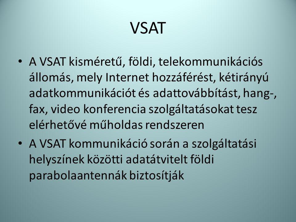 VSAT • A VSAT kisméretű, földi, telekommunikációs állomás, mely Internet hozzáférést, kétirányú adatkommunikációt és adattovábbítást, hang-, fax, vide
