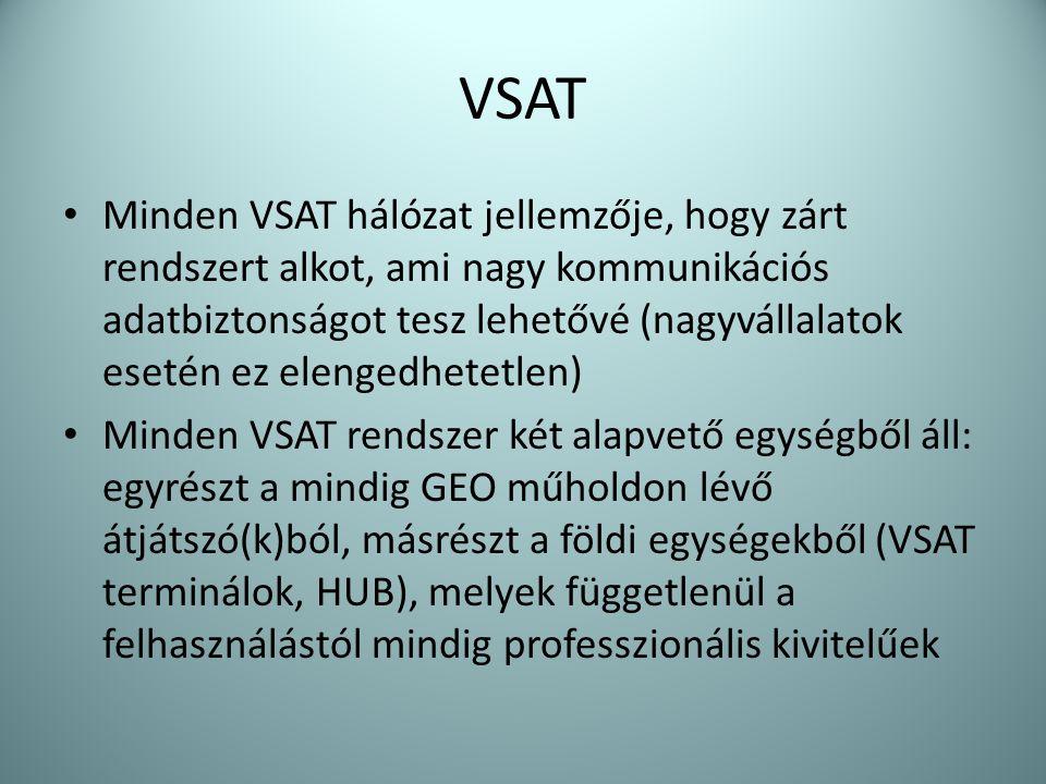 VSAT • Minden VSAT hálózat jellemzője, hogy zárt rendszert alkot, ami nagy kommunikációs adatbiztonságot tesz lehetővé (nagyvállalatok esetén ez eleng