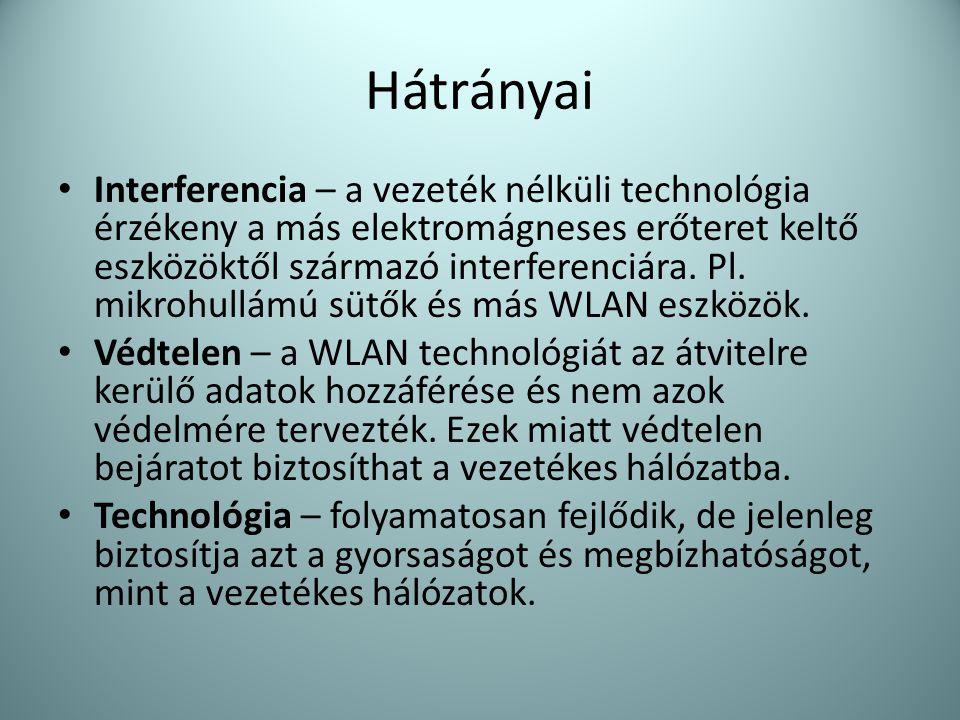 Hátrányai • Interferencia – a vezeték nélküli technológia érzékeny a más elektromágneses erőteret keltő eszközöktől származó interferenciára. Pl. mikr