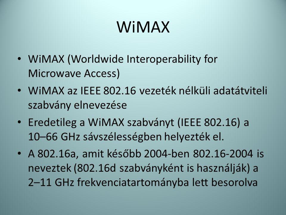 WiMAX • WiMAX (Worldwide Interoperability for Microwave Access) • WiMAX az IEEE 802.16 vezeték nélküli adatátviteli szabvány elnevezése • Eredetileg a