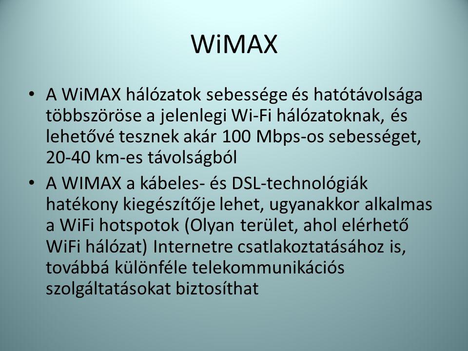 WiMAX • A WiMAX hálózatok sebessége és hatótávolsága többszöröse a jelenlegi Wi-Fi hálózatoknak, és lehetővé tesznek akár 100 Mbps-os sebességet, 20-4