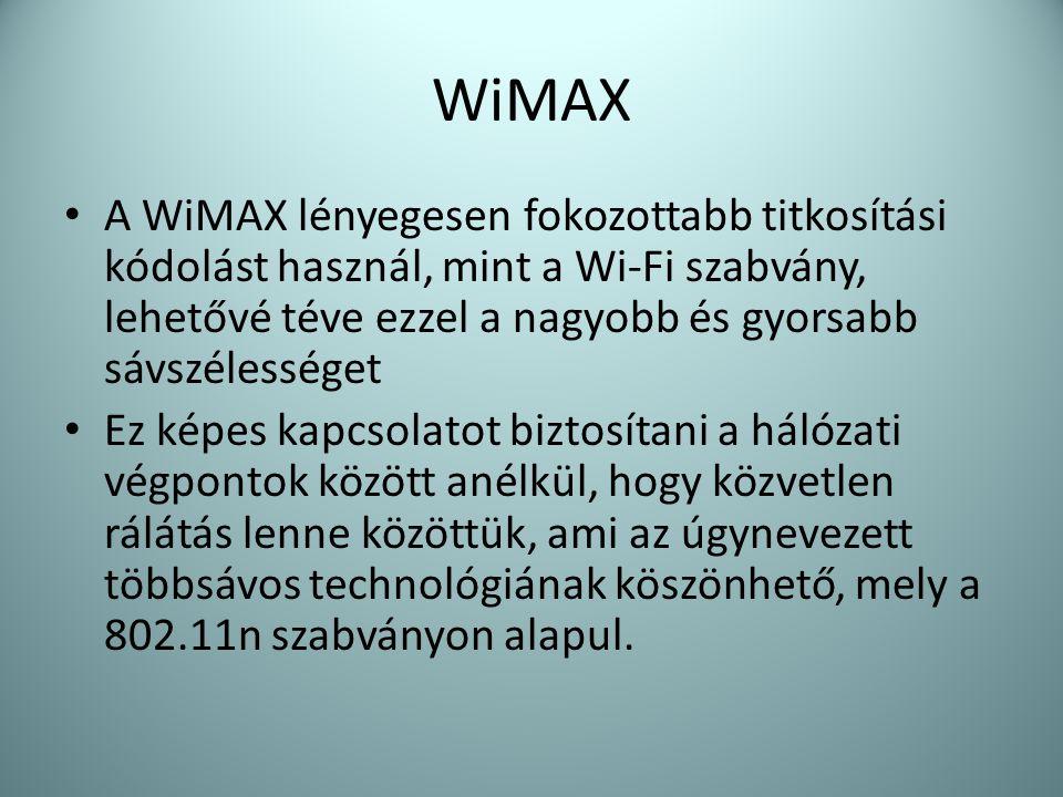 WiMAX • A WiMAX lényegesen fokozottabb titkosítási kódolást használ, mint a Wi-Fi szabvány, lehetővé téve ezzel a nagyobb és gyorsabb sávszélességet •