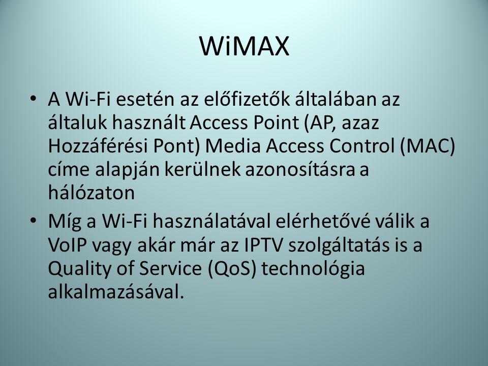 WiMAX • A Wi-Fi esetén az előfizetők általában az általuk használt Access Point (AP, azaz Hozzáférési Pont) Media Access Control (MAC) címe alapján ke