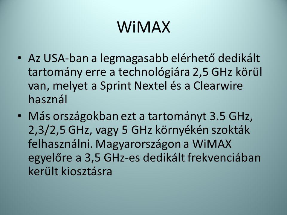 WiMAX • Az USA-ban a legmagasabb elérhető dedikált tartomány erre a technológiára 2,5 GHz körül van, melyet a Sprint Nextel és a Clearwire használ • M