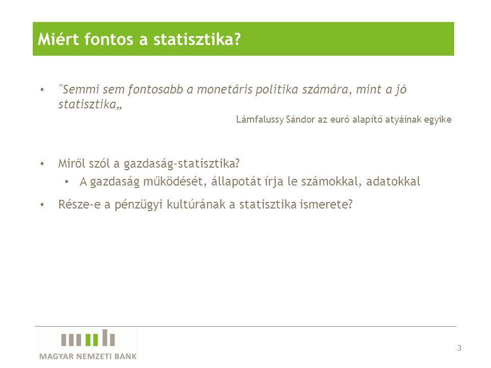 • Törvényben rögzített feladat • A cél az információk biztosítása • a monetáris politikai döntéshozatalhoz • a pénzügyi rendszer stabilitásának és • a pénzforgalmi rendszerek működésének figyelemmel kíséréséhez • Információk biztosítása mindenki számára Magyarország pénzügyi helyzetéről • Statisztikai területek: • pénzügyi számlák • fizetési mérleg • monetáris statisztika • egyéb statisztikák 4 A statisztika és az MNB