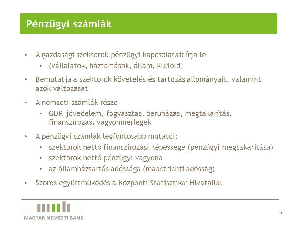 • Magyarország és a külföld közötti reálgazdasági és pénzügyi kapcsolatokat írja le • kereskedelmi kapcsolatok • jövedelmi kapcsolatok • tőketranszferek • pénzügyi kapcsolatok • Időszakra és időpontra vonatkozó adatok (tranzakciók, állományváltozások illetve állományok) • Felépítése hasonló a nemzeti számlákhoz • Legfontosabb mutatói: • folyó fizetési mérleg egyenlege • Magyarország külföldi adóssága • Szoros együttműködés a Központi Statisztikai Hivatallal 6 Fizetési mérleg