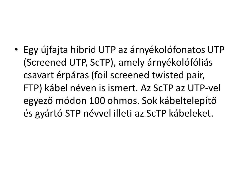• Egy újfajta hibrid UTP az árnyékolófonatos UTP (Screened UTP, ScTP), amely árnyékolófóliás csavart érpáras (foil screened twisted pair, FTP) kábel n