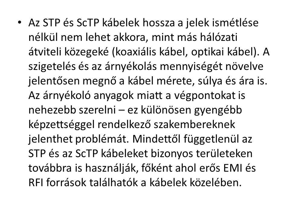 • Az STP és ScTP kábelek hossza a jelek ismétlése nélkül nem lehet akkora, mint más hálózati átviteli közegeké (koaxiális kábel, optikai kábel). A szi