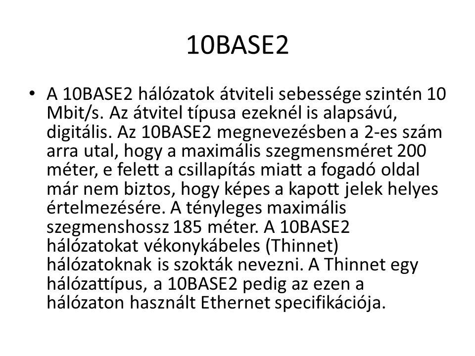 10BASE2 • A 10BASE2 hálózatok átviteli sebessége szintén 10 Mbit/s. Az átvitel típusa ezeknél is alapsávú, digitális. Az 10BASE2 megnevezésben a 2-es
