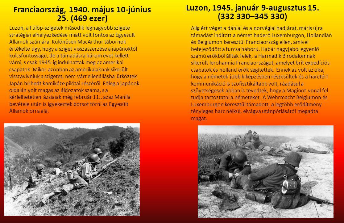 Franciaország, 1940. május 10-június 25. (469 ezer) Luzon, 1945. január 9-augusztus 15. (332 330–345 330) Luzon, a Fülöp-szigetek második legnagyobb s