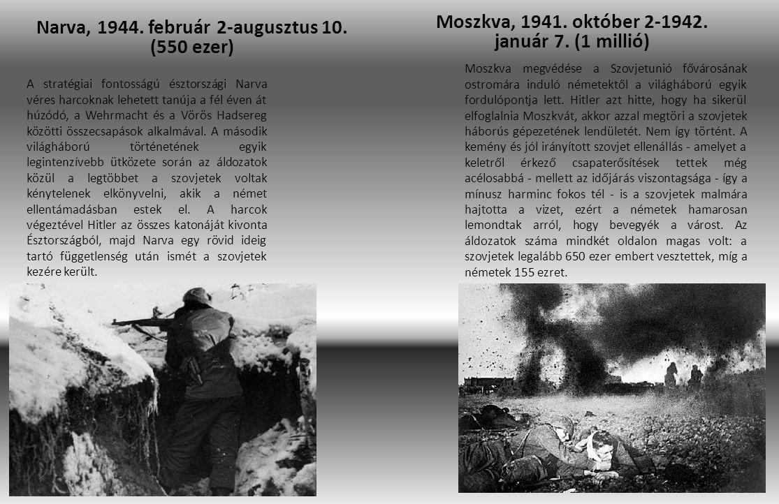 Narva, 1944. február 2-augusztus 10. (550 ezer) Moszkva, 1941. október 2-1942. január 7. (1 millió) A stratégiai fontosságú észtországi Narva véres ha