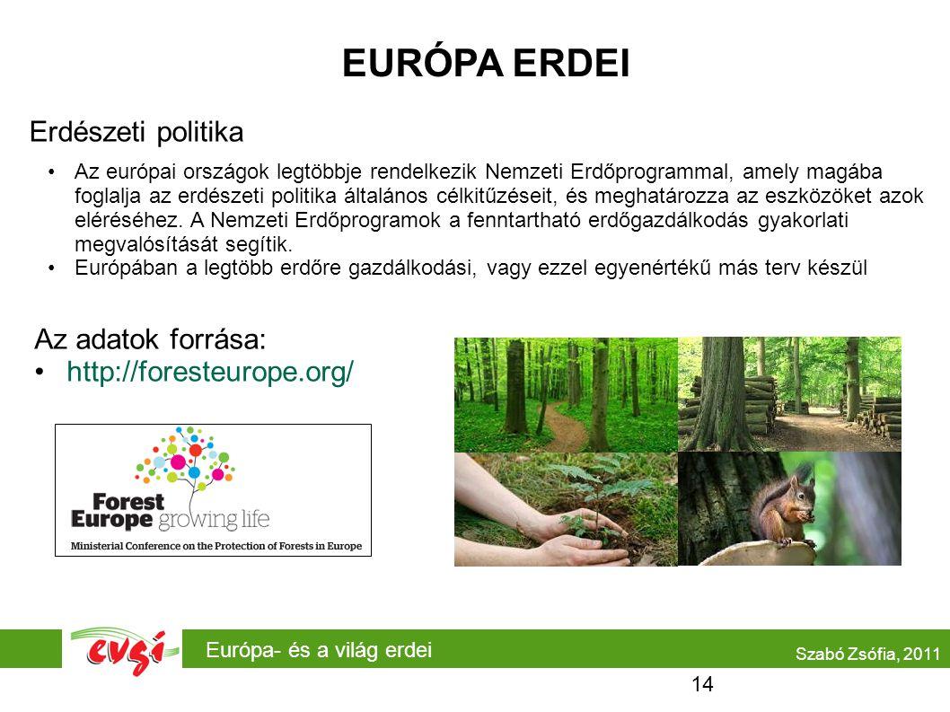 Európa- és a világ erdei EURÓPA ERDEI Erdészeti politika •Az európai országok legtöbbje rendelkezik Nemzeti Erdőprogrammal, amely magába foglalja az erdészeti politika általános célkitűzéseit, és meghatározza az eszközöket azok eléréséhez.